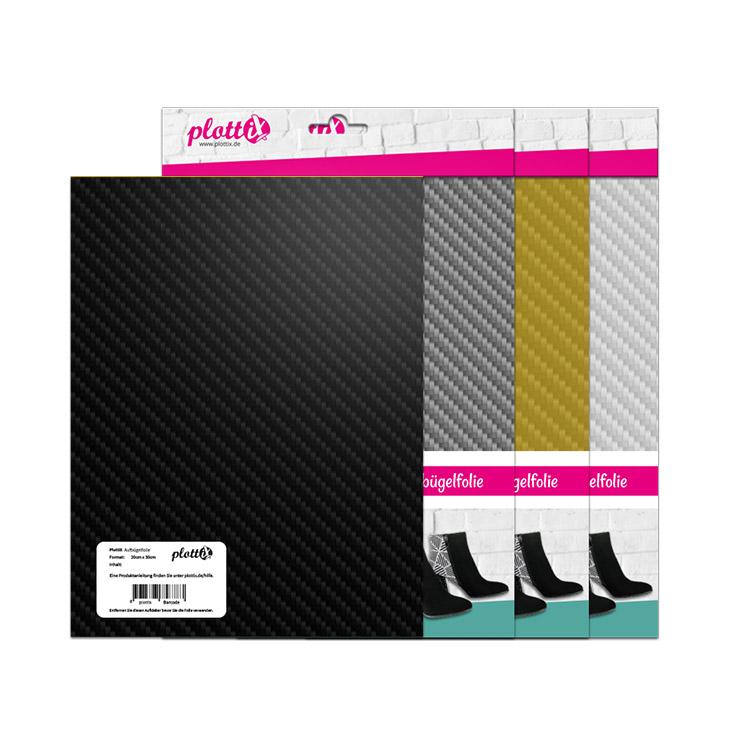 Mit dieser neuen Aufbügelfolie von PlottiX können Sie Ihren Textilien tolle Designs verleihen in einem coolen Carbon Look – Industriell und schick.