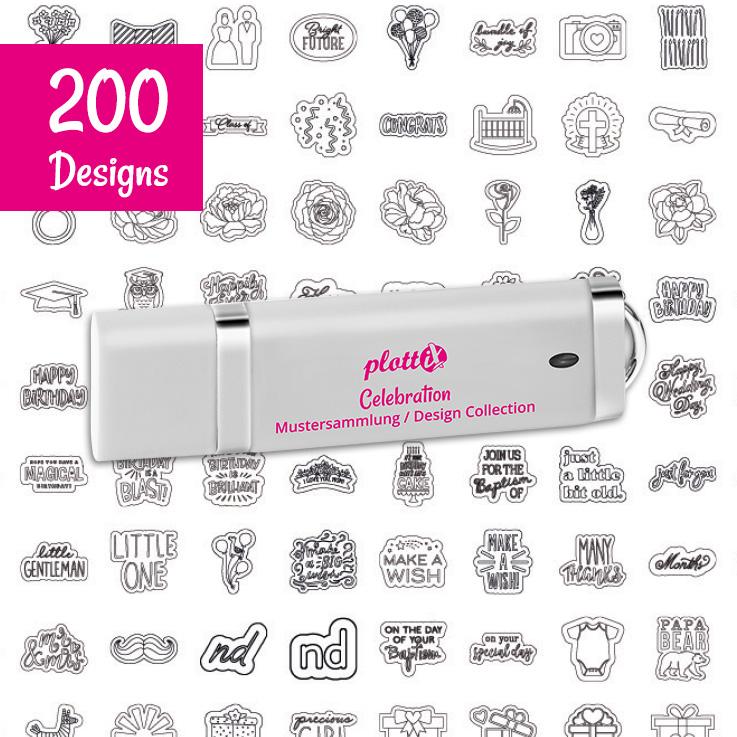 Auf diesem Stick finden Sie 200 tolle Designs für Ihren Schneideplotter.