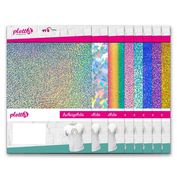 Tolle Effektfolie im Holo-Look! Diese Aufbügelfolien fallen auf und strahlen in tollen Farben um die Wette.