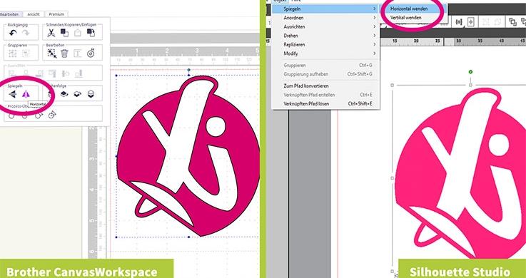 In der Software für Ihren Hobbyplotter können Sie Ihr Design vorbereiten. Spiegeln Sie dieses vor dem Schneiden.