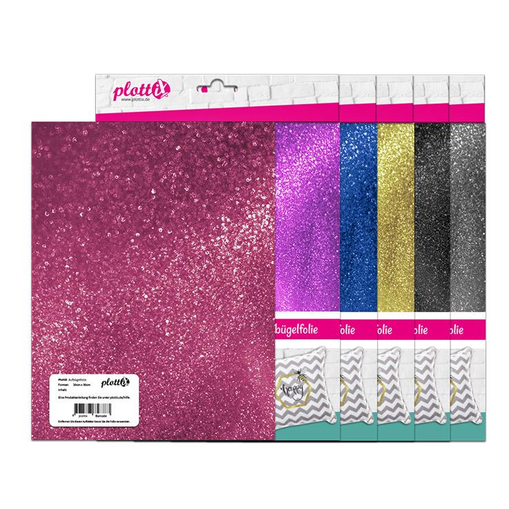 Funkelnde Folie passend für verschiedene Textilien.