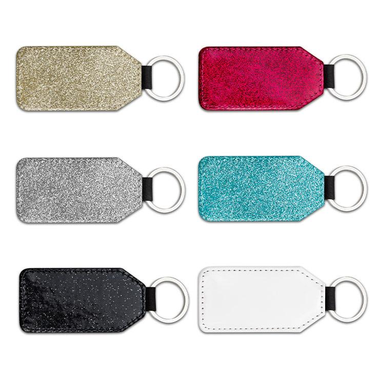 Glitzernde Schlüsselanhänger welche Sie auf einer Seite sublimieren können.