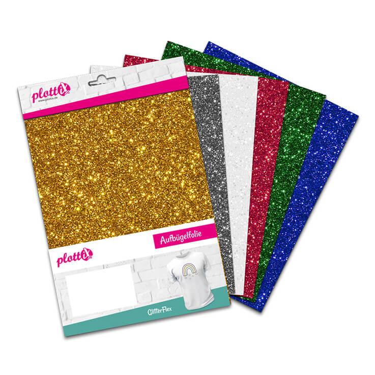 Glitzer für alle Fälle – unser GlitterFlex Bundle besteht aus 6 Farben.