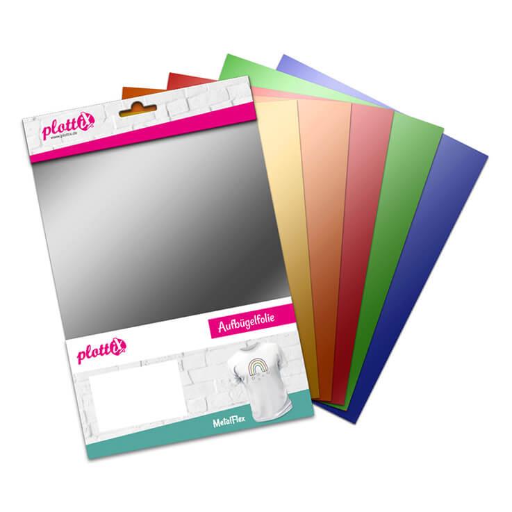 Unser MetalFlex Bundle ist gefüllt mit 6 verschiedenen Aufbüglfolien im metallischen Look.