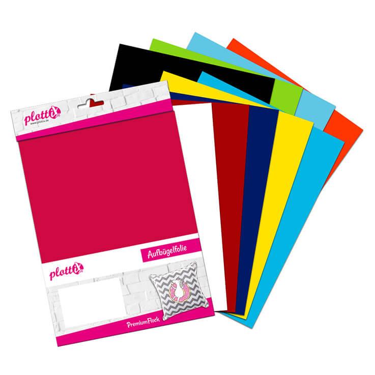 Unser Starterkit PremiumFlock Bundle beinhaltet 10 verschiedene Folienfarben – so können Sie richtig durchstarten.