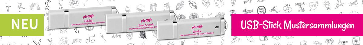 Entdecken Sie alle plottiX USB-Sticks. Auf jedem Stick befinden sich 200 Designs.